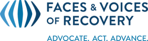 Blue arrows with Faces & Voices of Recovery spelled out to the right and advocate, act, and advance spelled beneath