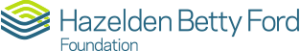 The words Hazelden Betty Ford Foundation spelled out in blue with a green and blue interlocked arrow design to the left