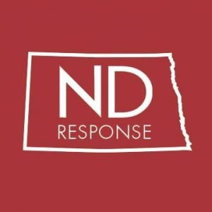 Red box with white outline of the state of North Dakota and the words ND Response contained inside