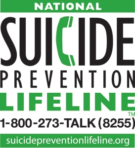 Green and white image with National Suicide Prevention Lifeline in bold letters with a phone handle in the shape of a C with phone number and website listed at the bottom
