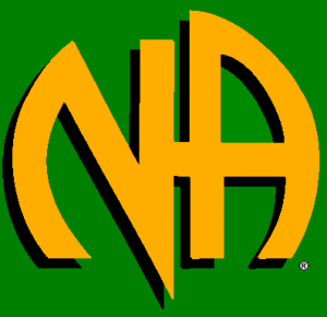 "Gold letters ""N"" & ""A"" against a green background"
