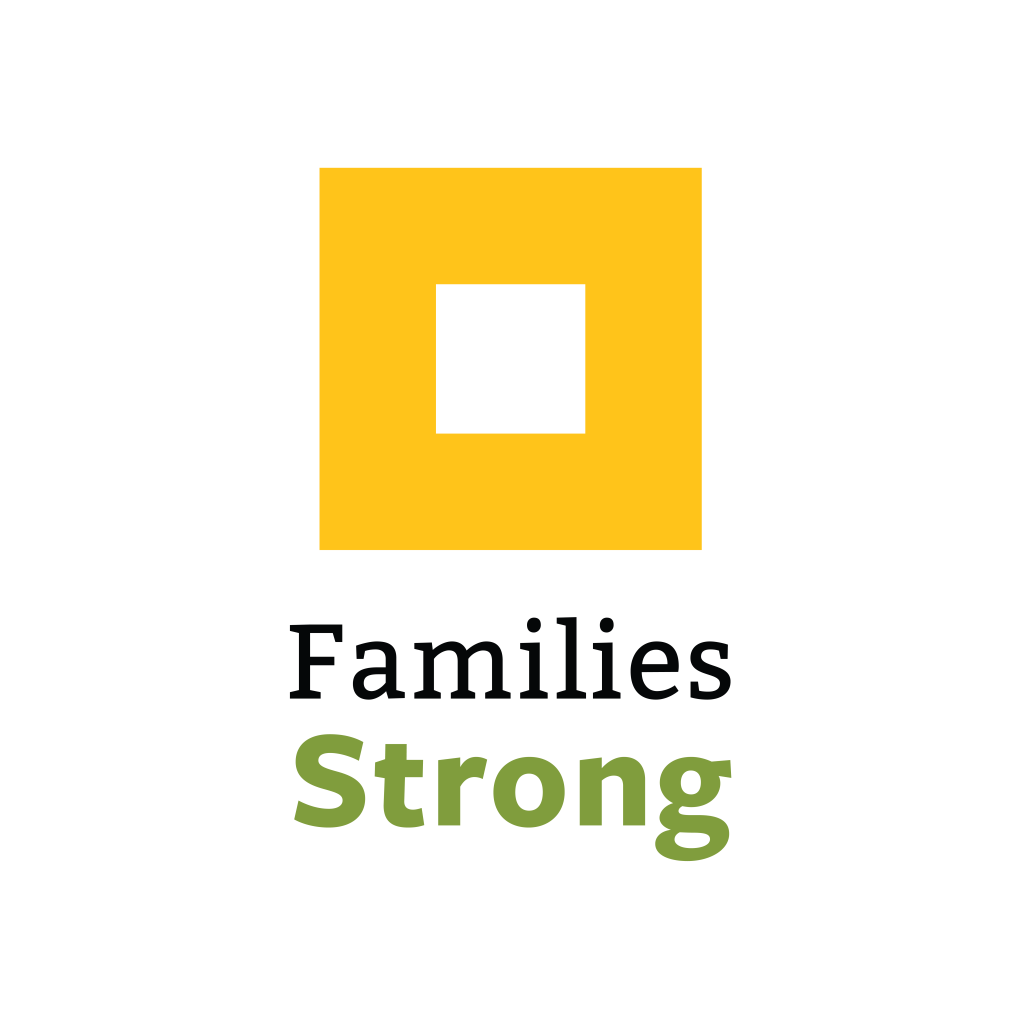 A gold box outline with the words Families Strong below